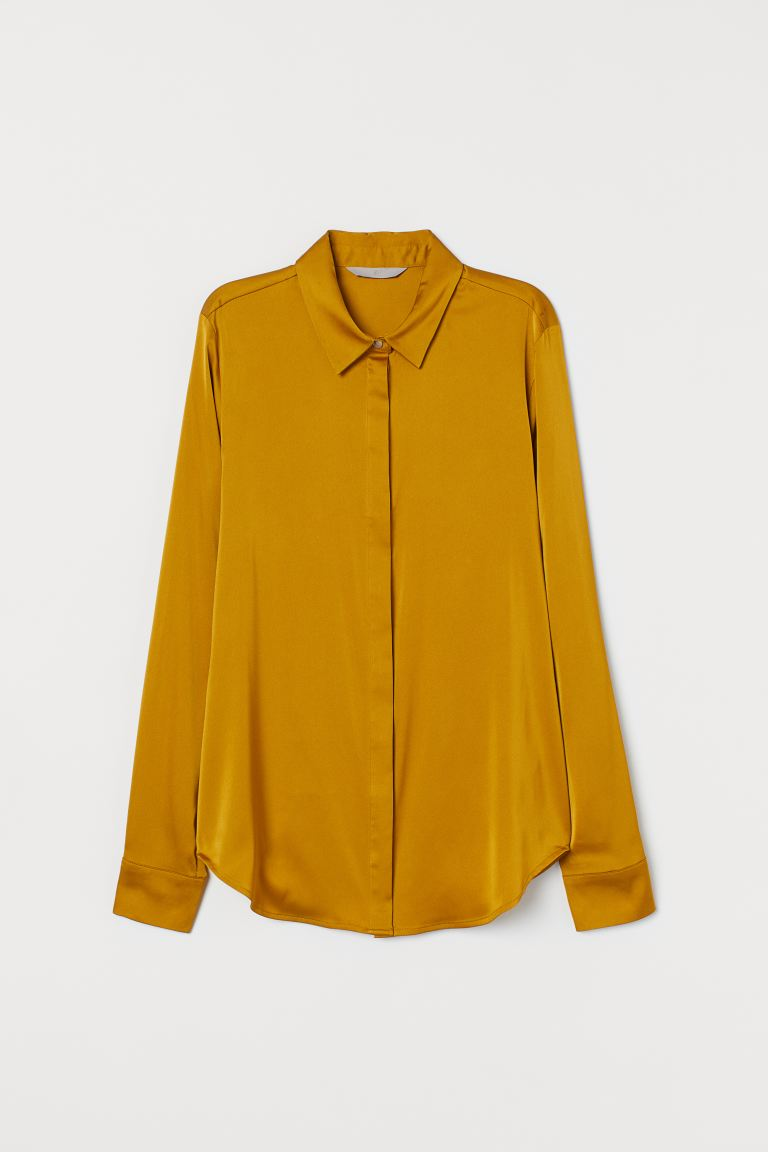 Long-sleeved Blouse - Dark yellow - Ladies | H&M US