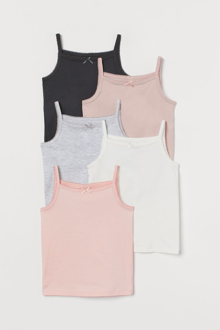 5-pack Jersey Tank Tops - Pink/white/gray - Kids | H&M US