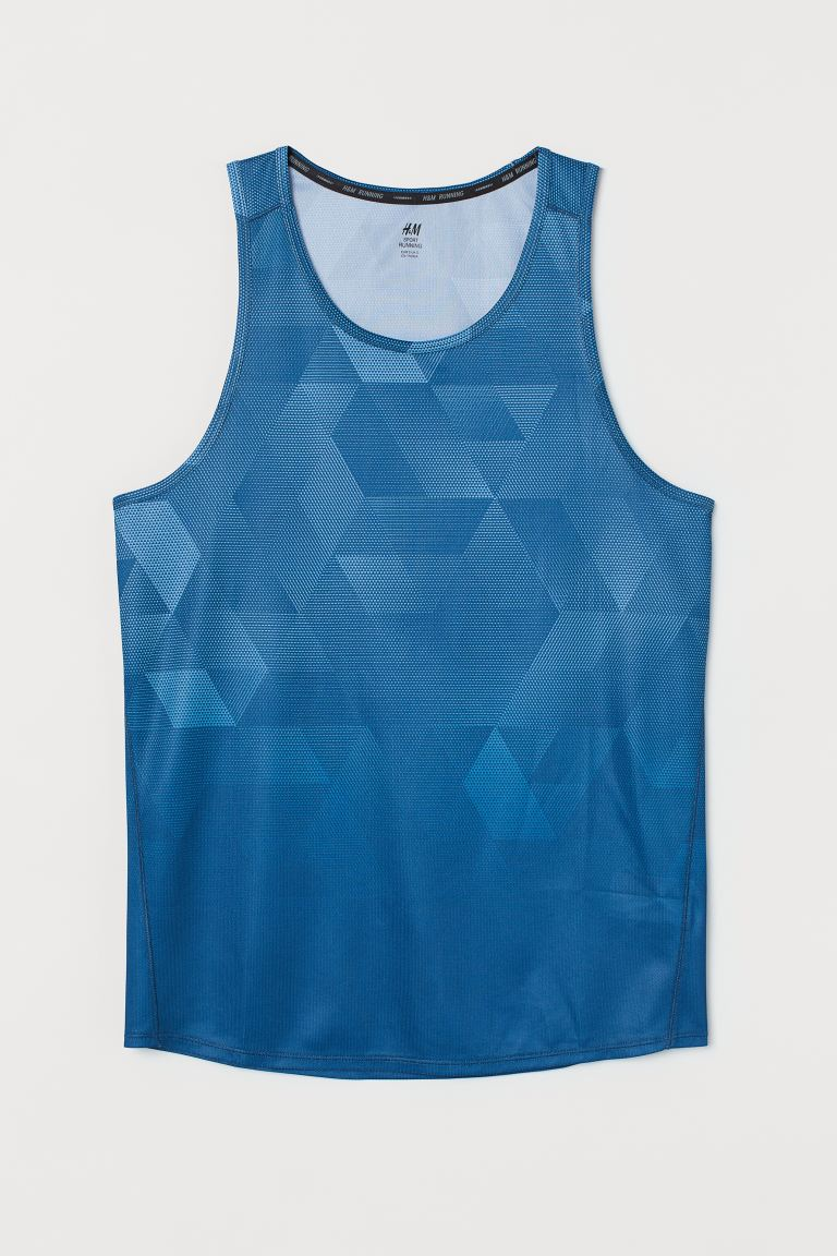 Running vest top Regular Fit - Blue/Patterned - Men | H&M IN