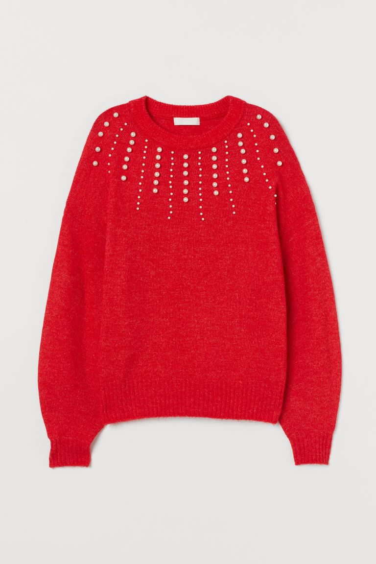 Knit Sweater with Beads - Red - Ladies | H&M US