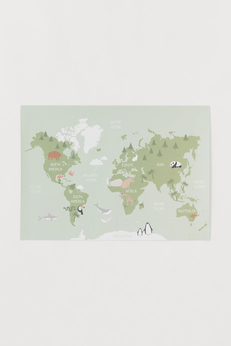 Poster - Light green/Map - Home All | H&M GB