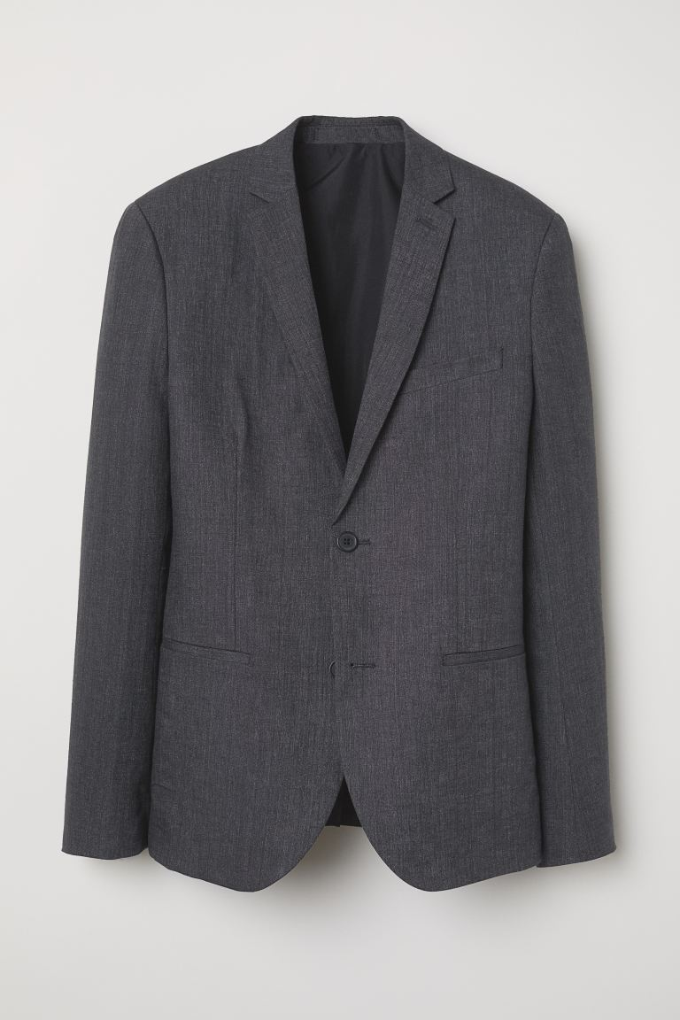 Slim Fit Linen Blazer - Dark gray melange - Men | H&M US