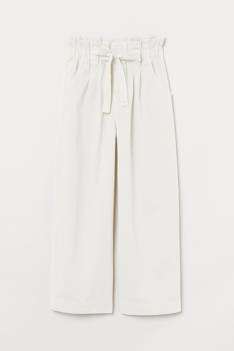 Twill paper bag trousers - White - Ladies | H&M