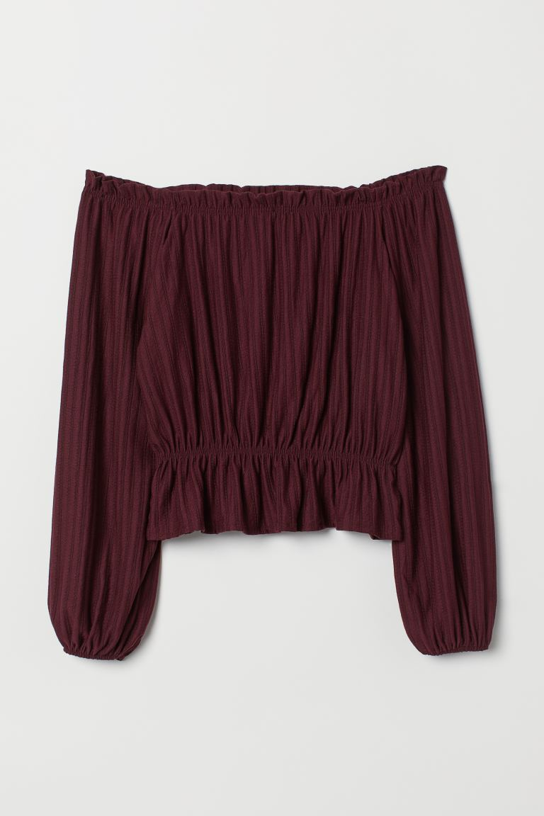 Off-Shoulder-Shirt - Weinrot - Ladies | H&M DE