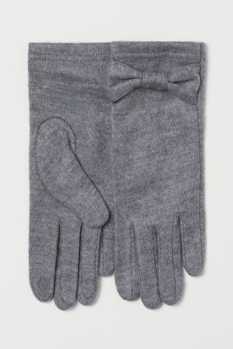 Fine-knit gloves - Grey marl - Ladies | H&M IE