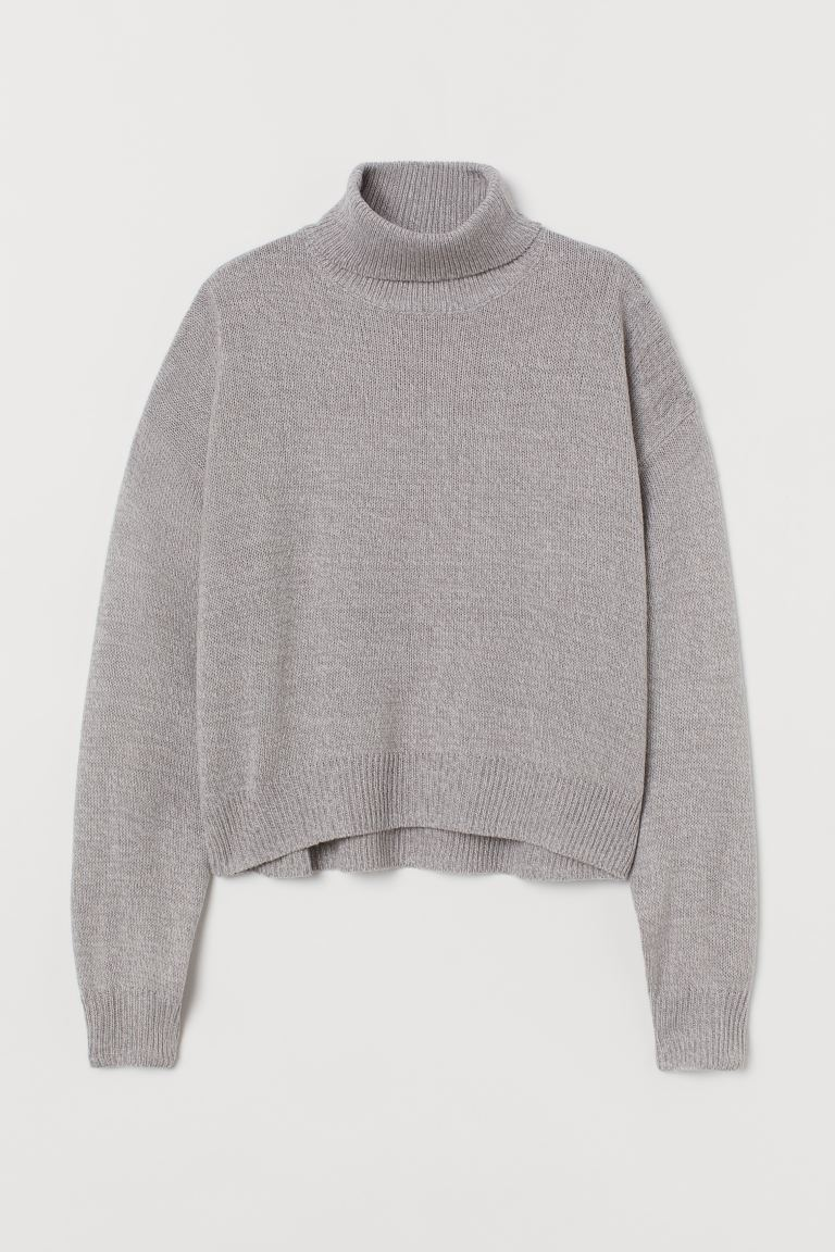 Knit Turtleneck Sweater - Gray melange - Ladies | H&M US