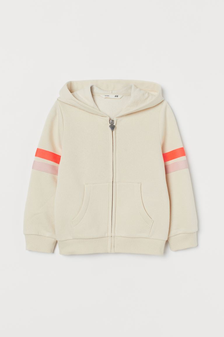 Chandail à capuchon - Beige/orange fluo - ENFANT | H&M CA
