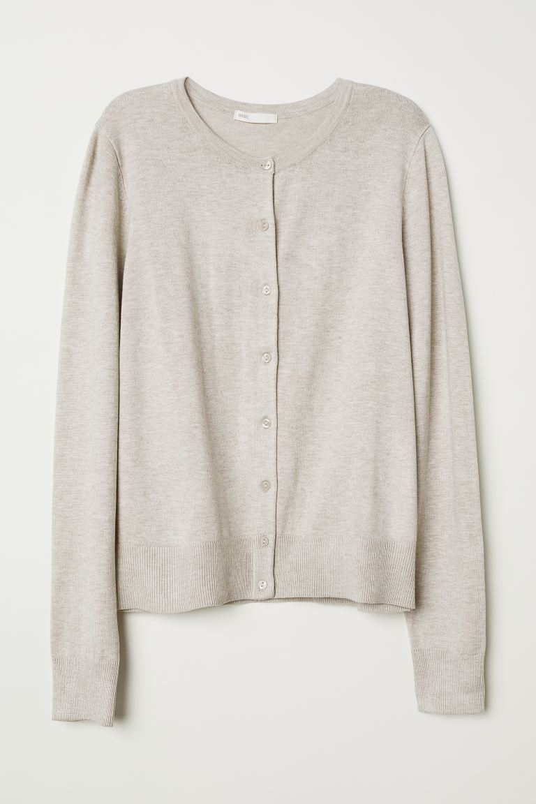 Feinstrick-Cardigan - Hellbeigemeliert - Ladies | H&M AT