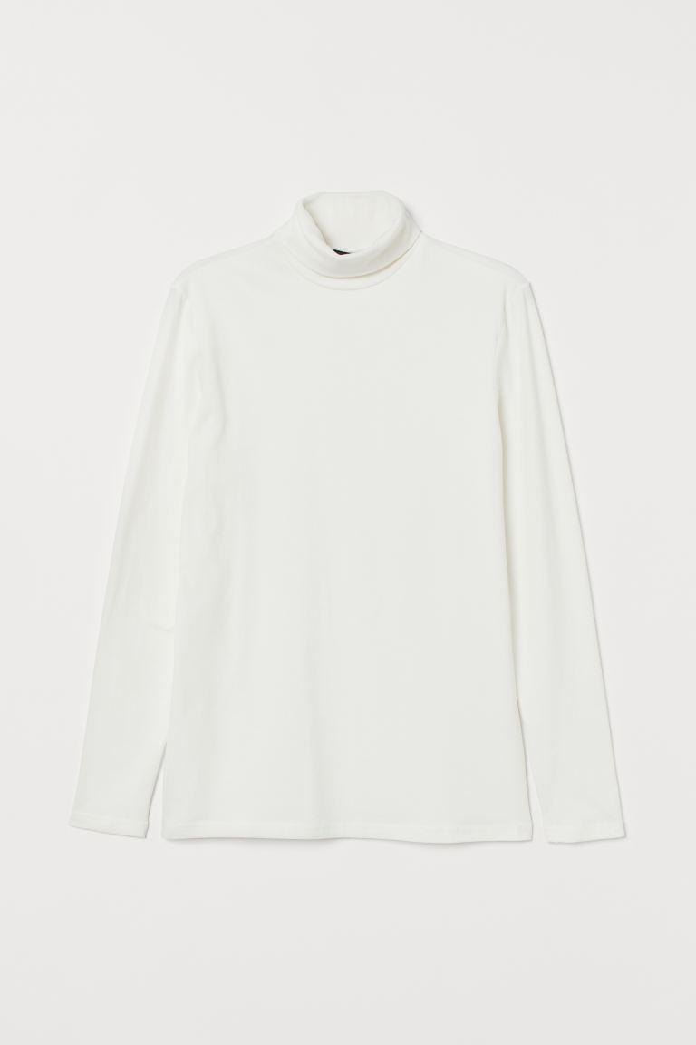 Slim Fit Turtleneck Shirt - White - Men | H&M CA