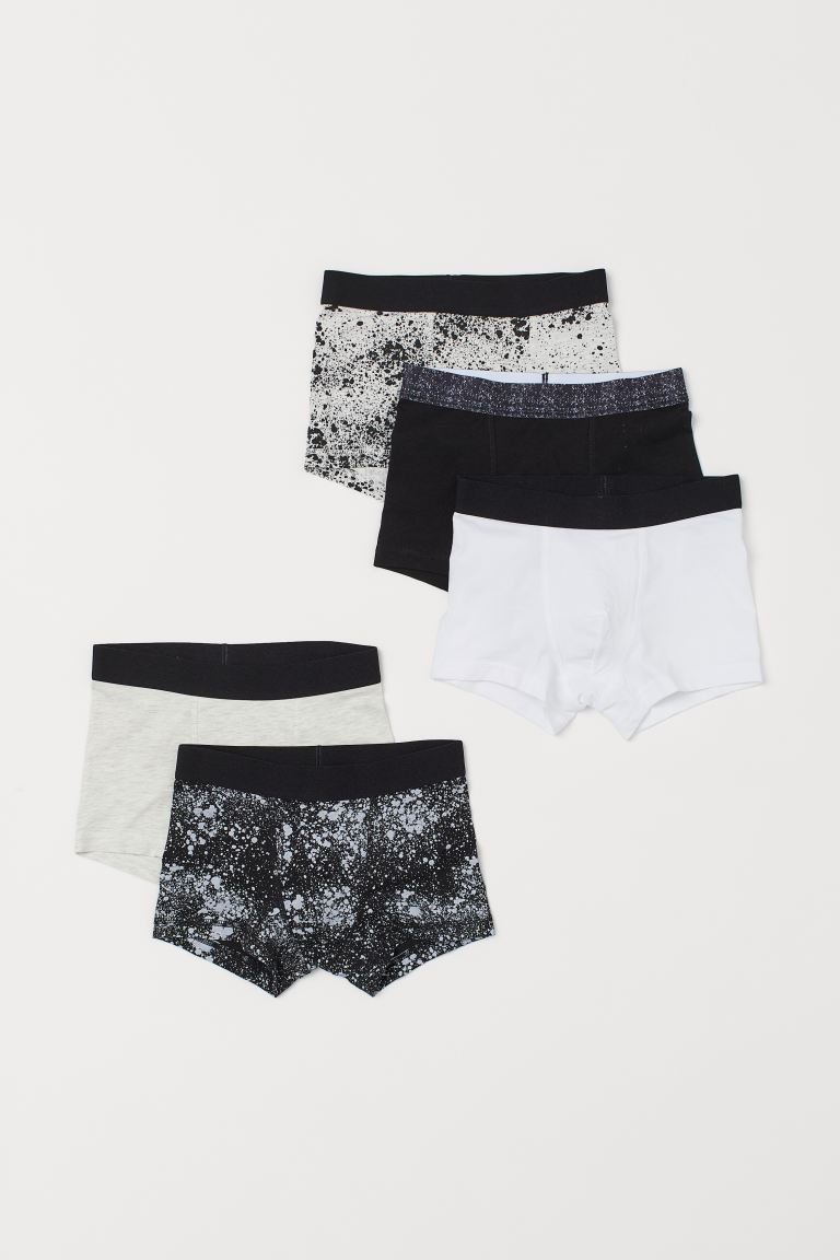 5-pack boxer shorts - Black/Splatter print - Kids | H&M