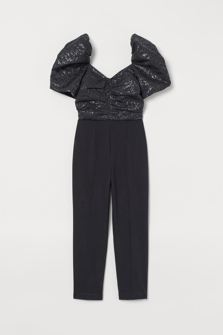 Jacquard-weave jumpsuit - Black - Ladies | H&M IE