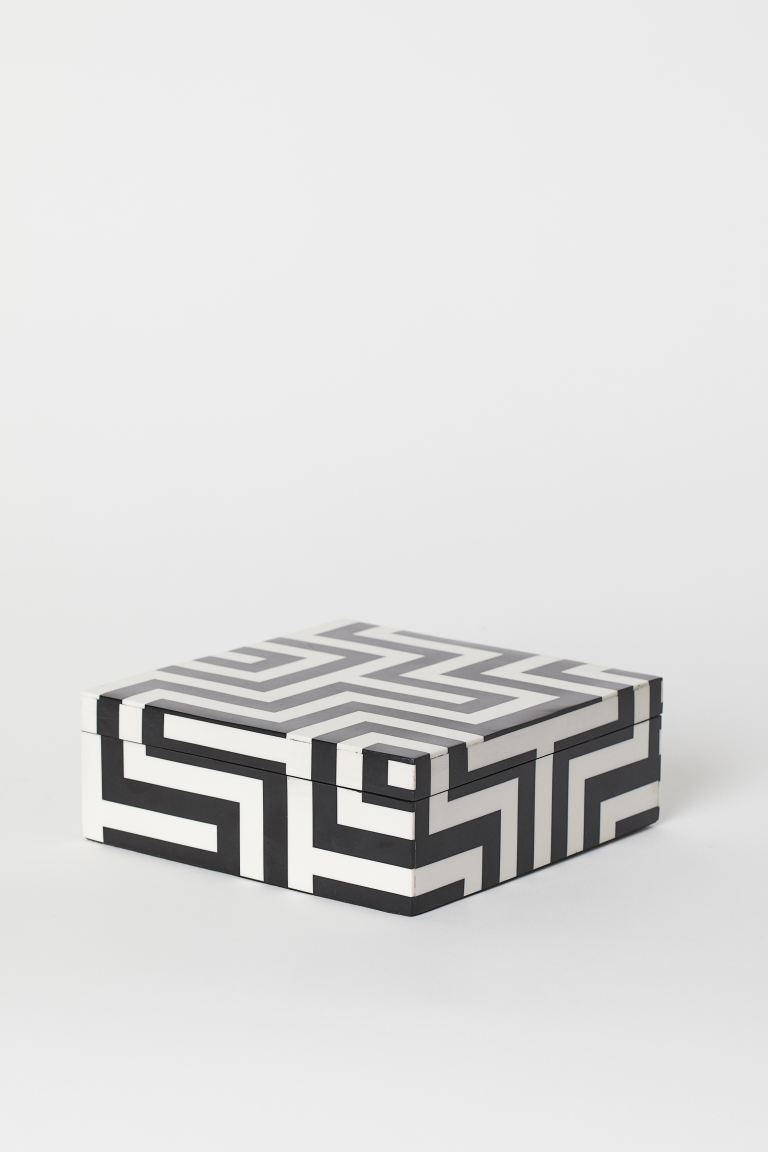 Synthetic Resin Box - Black/white patterned - Home All | H&M US