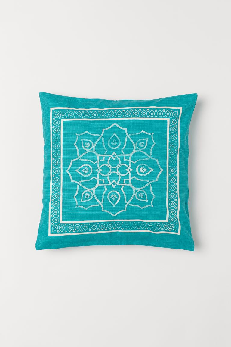 Patterned Cushion Cover - Turquoise - Home All | H&M US