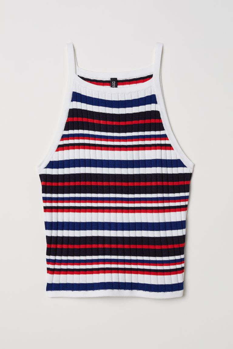 Ribbed strappy top - White/Multicoloured stripes - Ladies | H&M IN