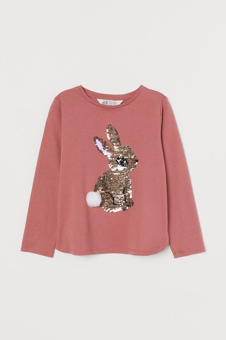 Design-front Jersey Top - Dusty rose/rabbit - Kids | H&M US