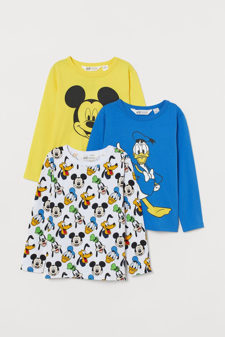 3-pack printed jersey tops - White/Mickey Mouse - Kids | H&M