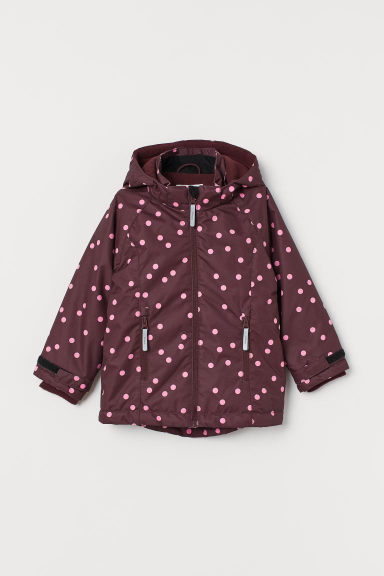 Water-repellent jacket - Dark red/Spotted - Kids | H&M