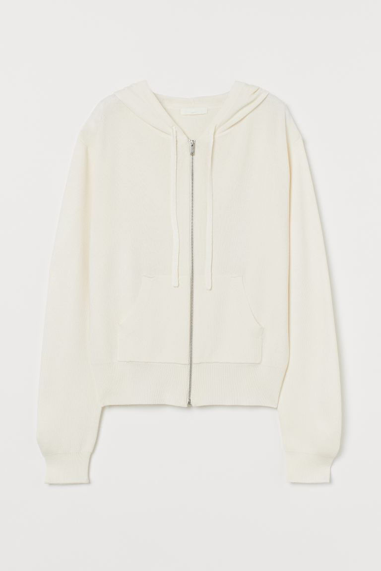 Fine Knit Hooded Jacket - Cream - Ladies | H&M AU