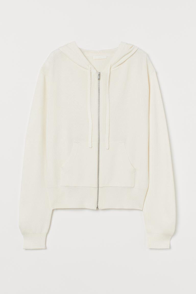 Fine-knit hooded jacket