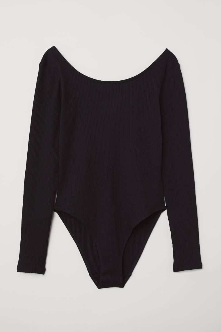Long-sleeved Bodysuit - Black - Ladies | H&M US