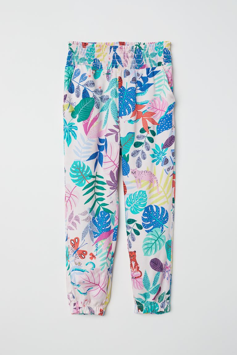 Patterned pull-on trousers - Light pink/Patterned - Kids | H&M GB