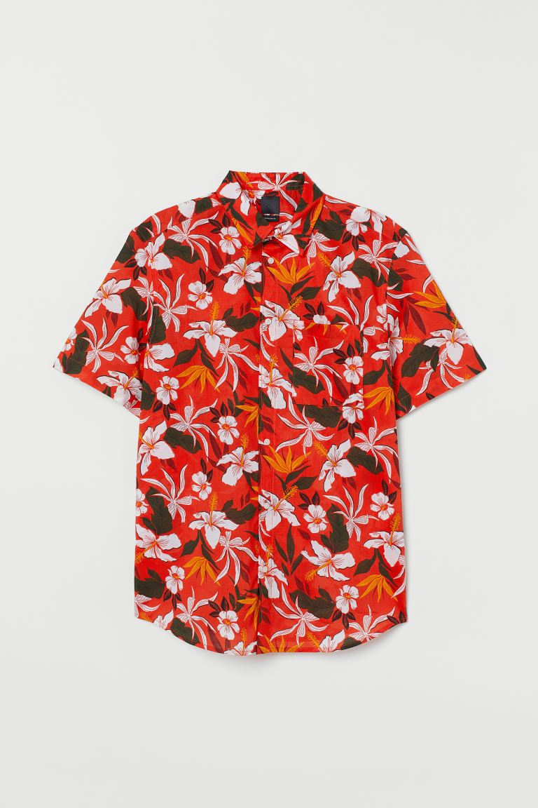 Cotton shirt Regular Fit - Red/Floral - Men | H&M GB