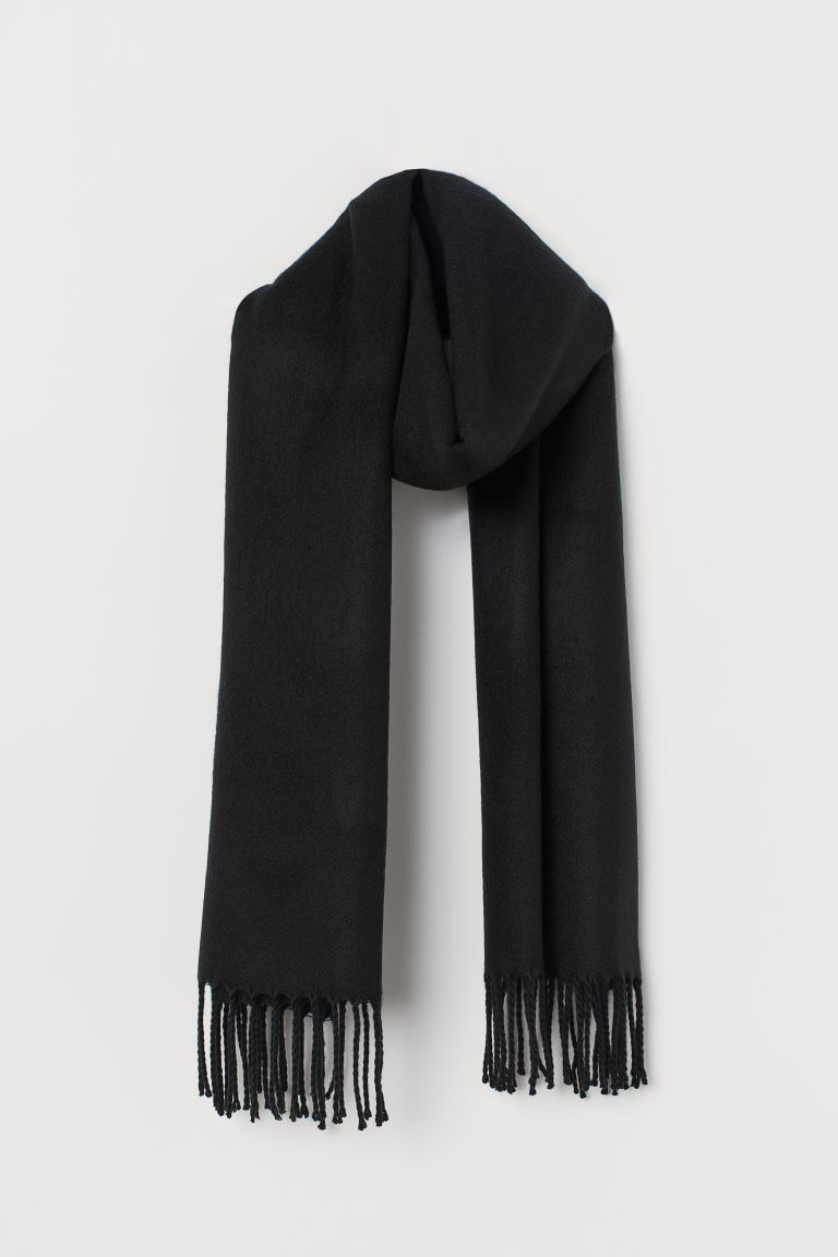 Fringed scarf - Black - Ladies | H&M GB