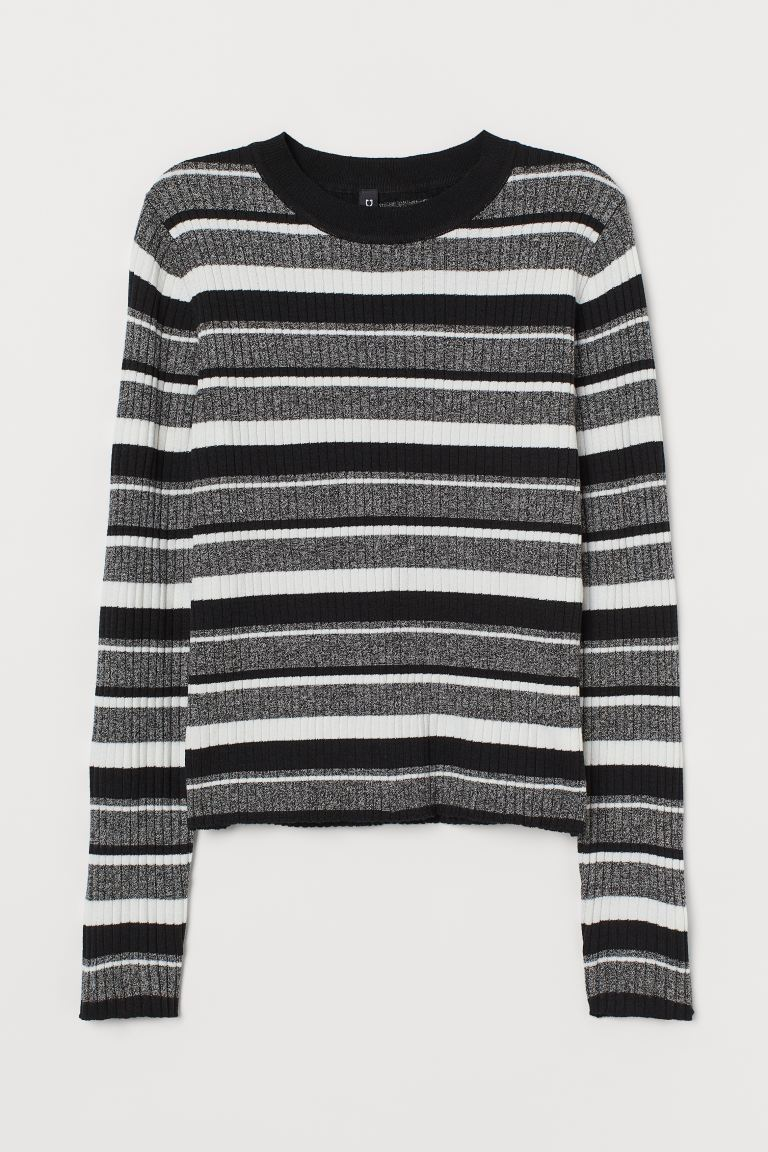 Fine-knit top - Black/Grey striped - Ladies | H&M