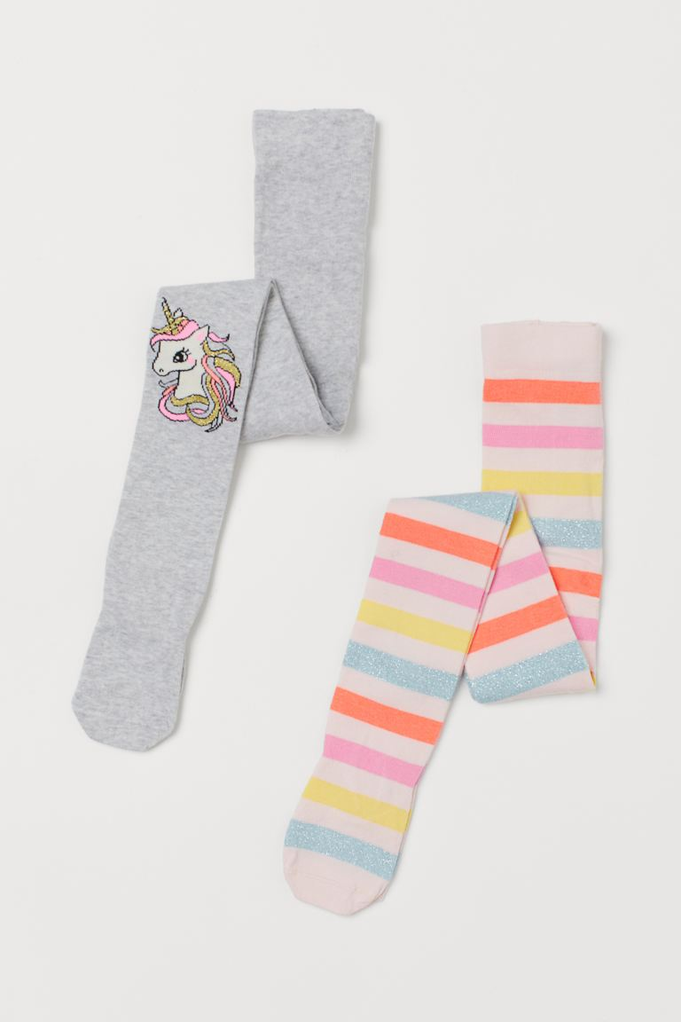 2-pack Fine-knit Tights - Light gray melange/unicorn - Kids | H&M US