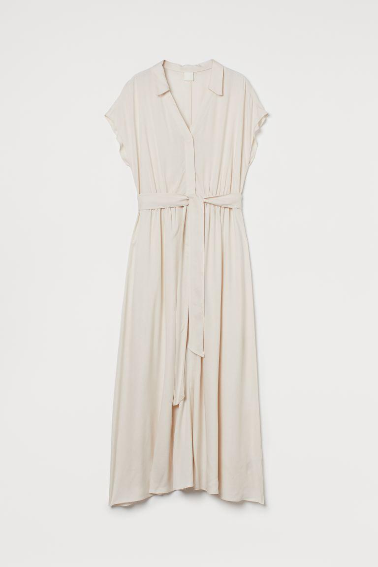 Tie Belt Shirt Dress - Light beige -