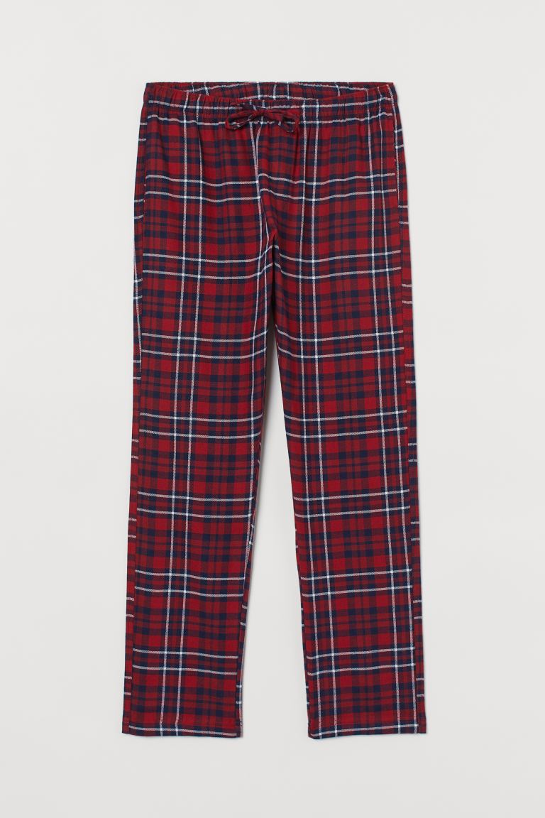 Flannel pyjama bottoms - Red/Blue-checked - Men | H&M