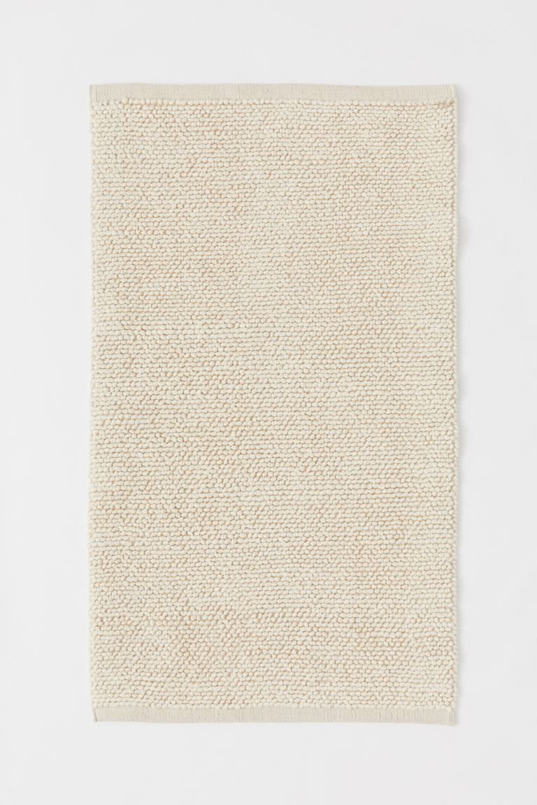 Textured-weave wool-blend rug - Light beige - Home All | H&M GB