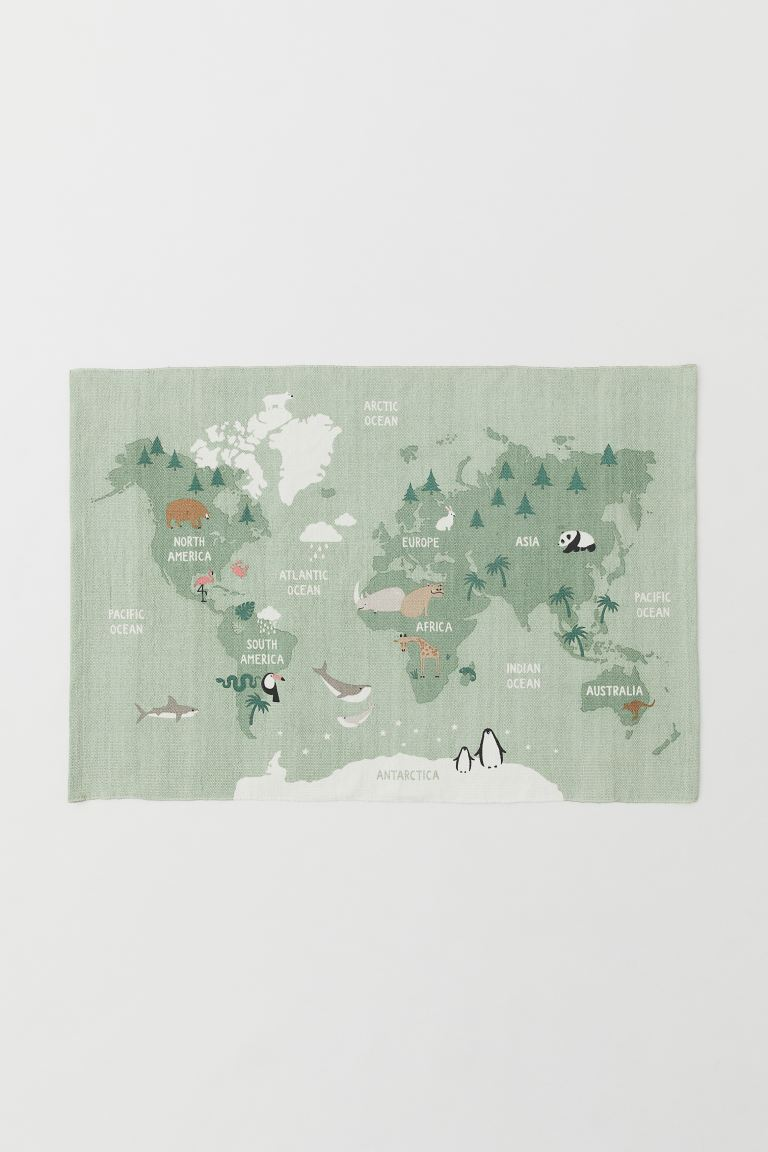 World map cotton rug - Light green/Animals - Home All | H&M GB