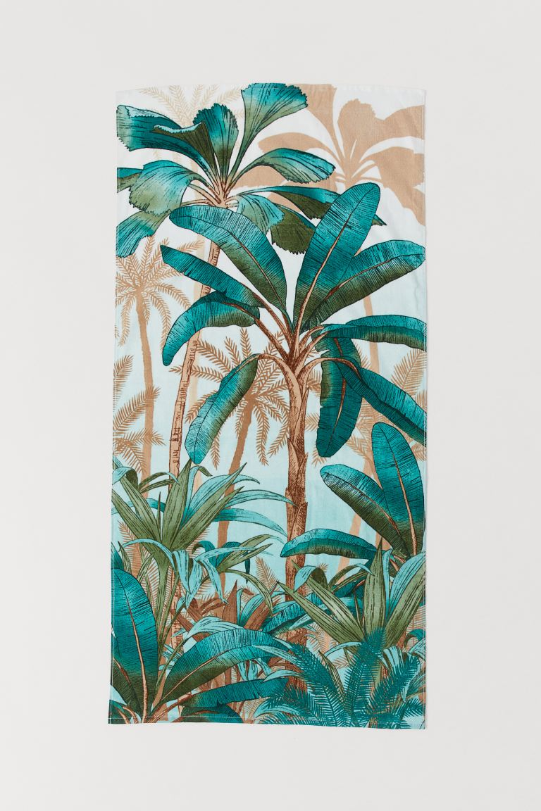 Patterned Beach Towel - Light turquoise/palm trees - Home All | H&M US