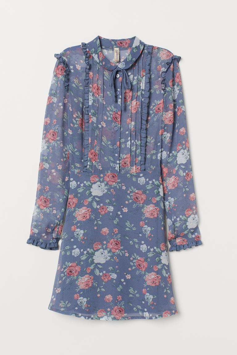 Ruffled Chiffon Dress - Pigeon blue/floral - Ladies | H&M US