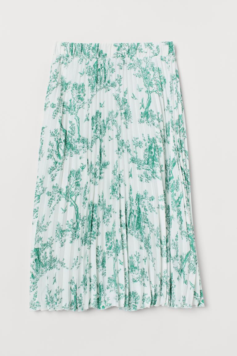 Pleated Skirt - White/patterned - Ladies | H&M US