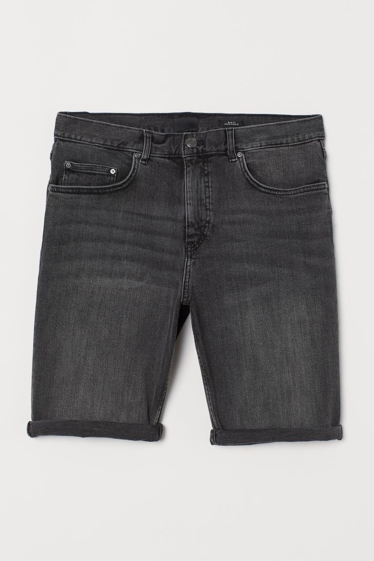Denim short – Slim Fit - Donkergrijs denim - HEREN | H&M NL
