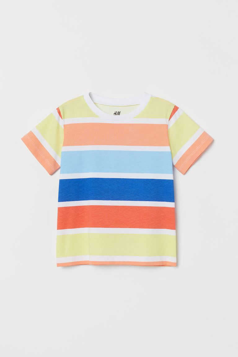 Cotton T-shirt - Light orange/Striped -  | H&M