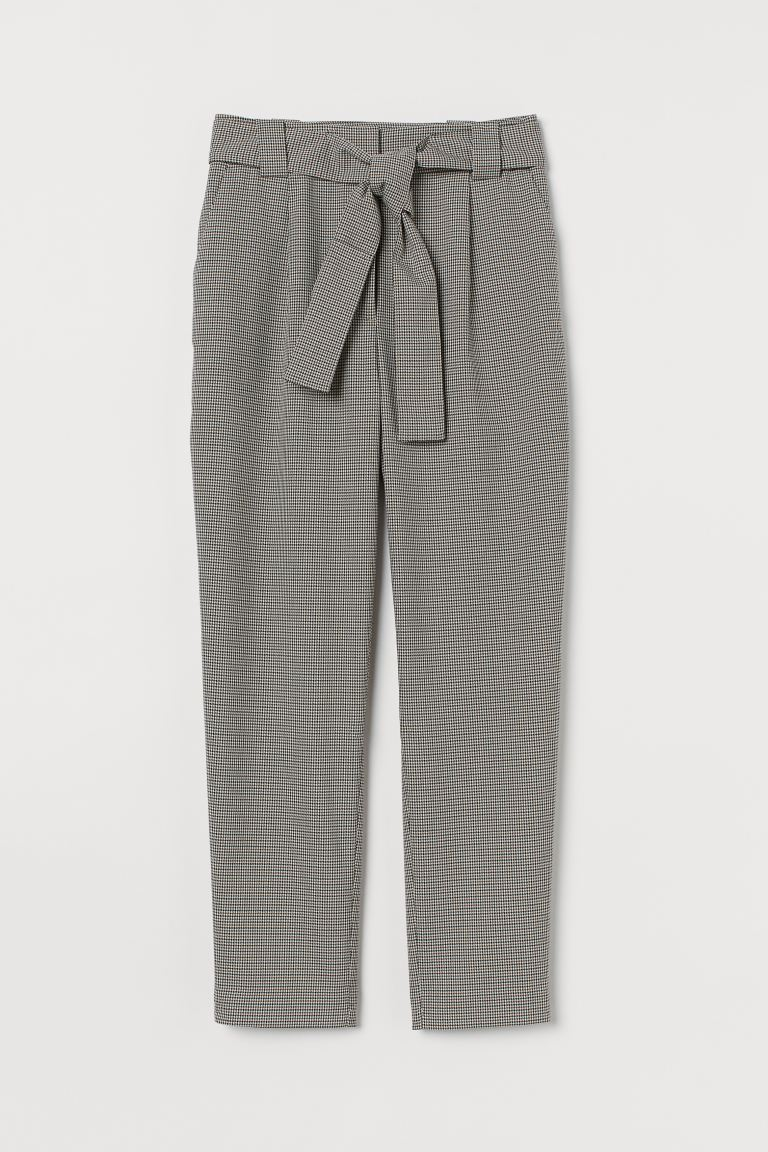 Ankle-length trousers - Dark grey/Dogtooth-patterned -  | H&M GB