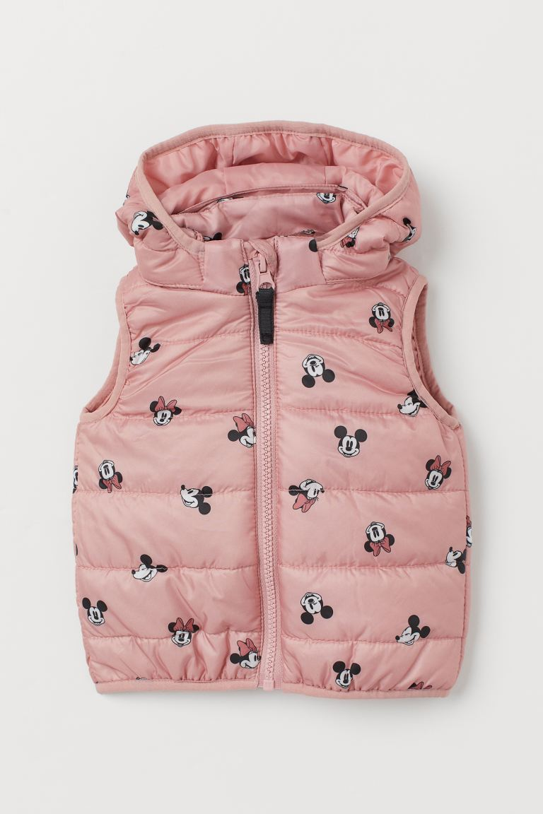 Hooded puffer gilet - Old rose/Minnie Mouse - Kids | H&M