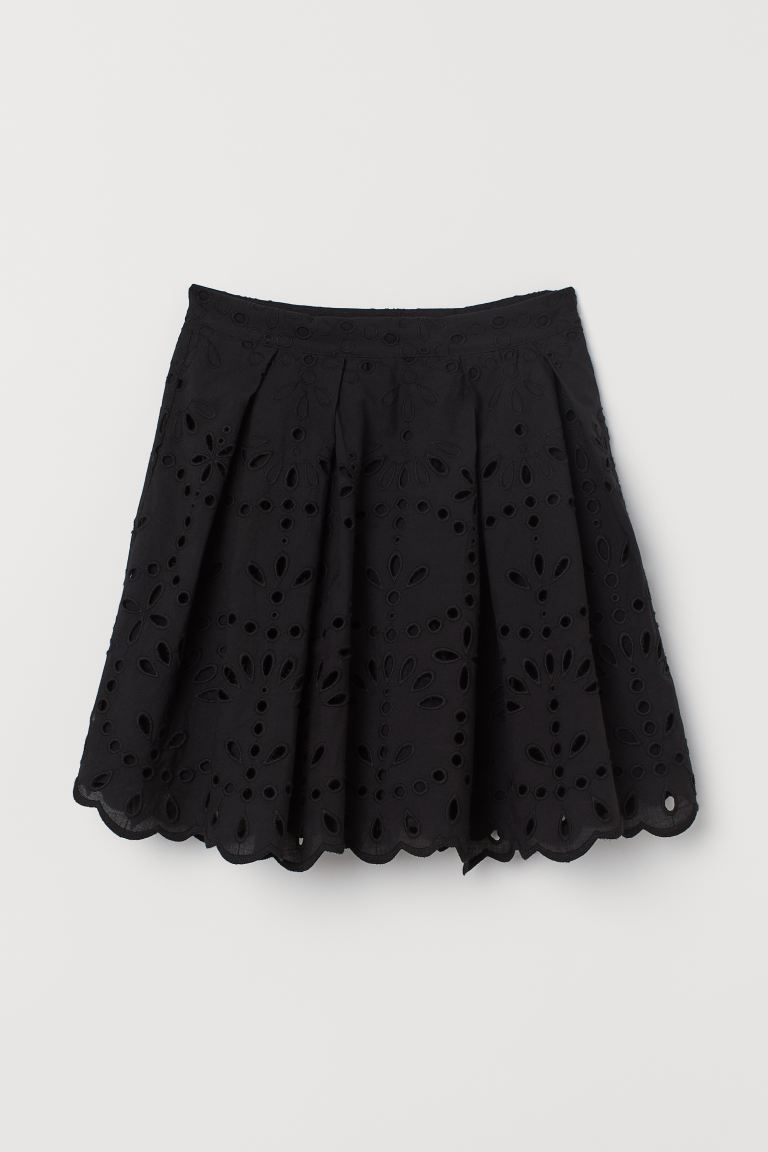 Skirt with Eyelet Embroidery - Black - Ladies | H&M US