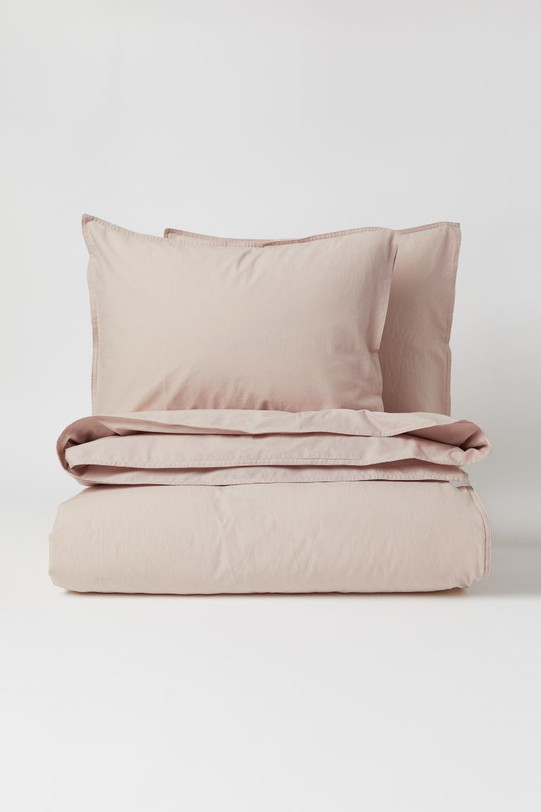 Washed cotton duvet cover set - Powder beige - Home All | H&M GB