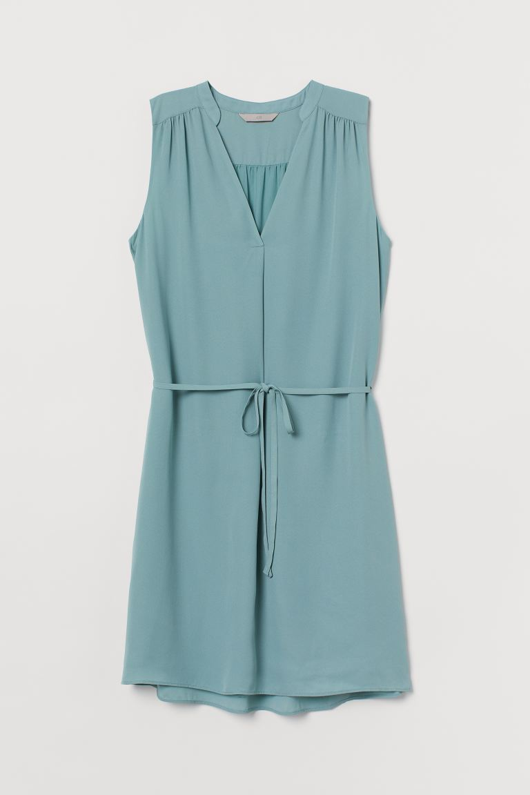 Kleid mit Bindegürtel - Türkis - Ladies | H&M AT
