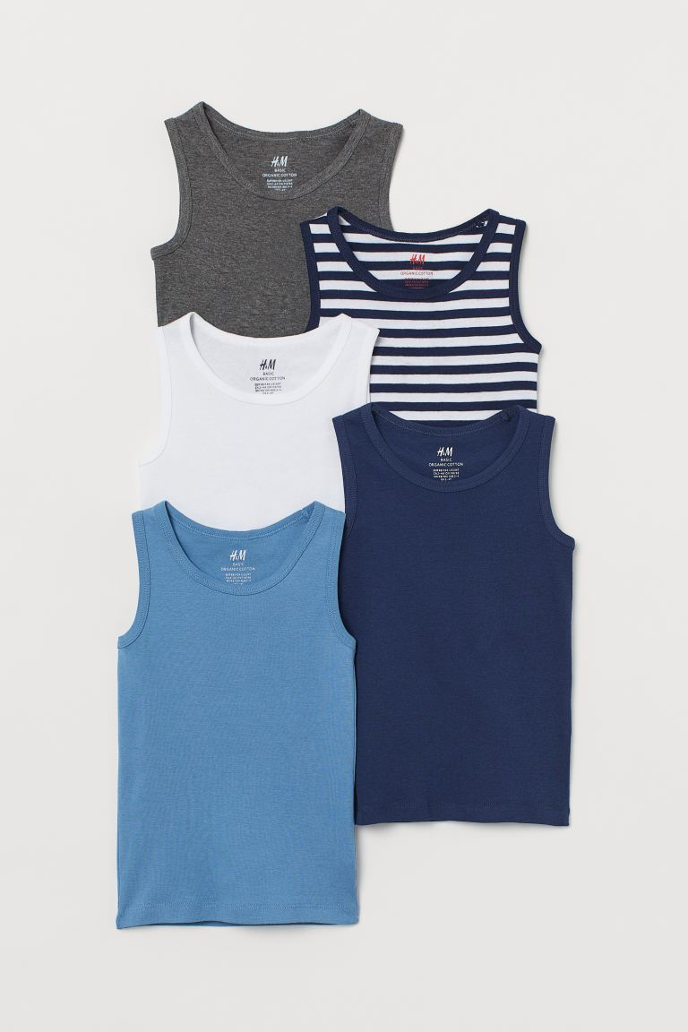 5-pack cotton vest tops - Dark blue/Striped - Kids | H&M