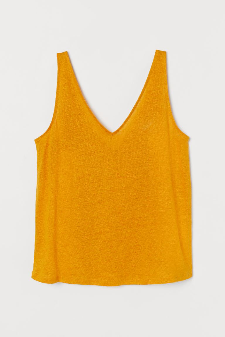 Linen Tank - Dark yellow - Ladies | H&M AU