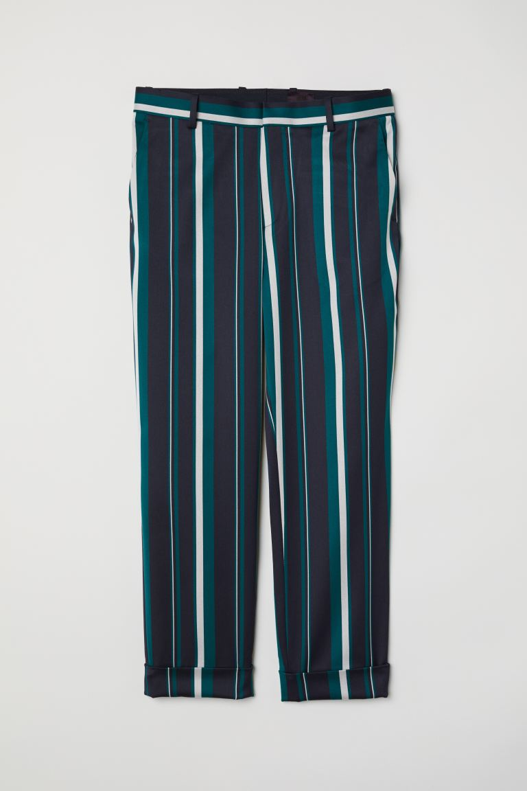 Striped suit trousers - Dark blue/Striped - Men | H&M GB