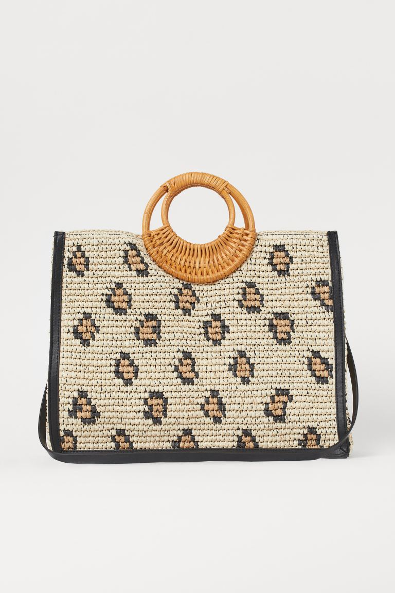 Paper straw shopper - Light beige/Leopard print - Ladies | H&M GB