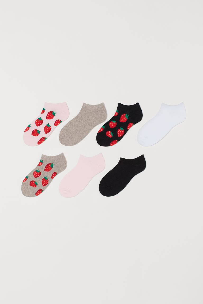 7-pack trainer socks - Light pink/Strawberries - Ladies | H&M IE