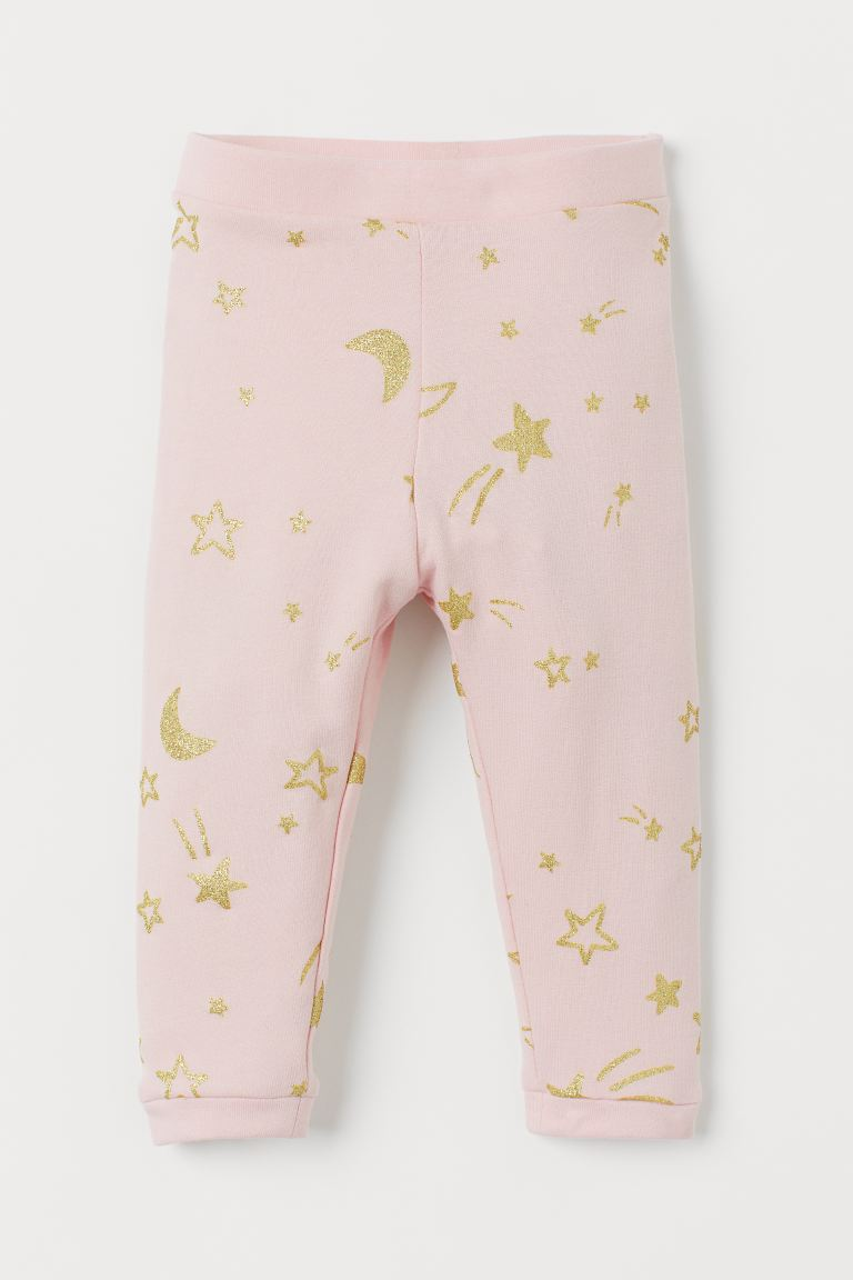 Leggings with brushed inside - Light pink/Stars - Kids | H&M