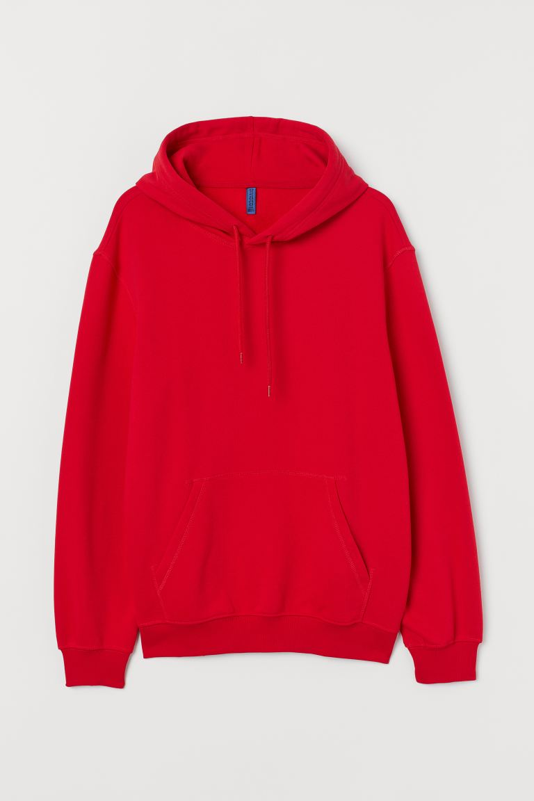 Relaxed Fit Hoodie - Red - Men | H&M IN